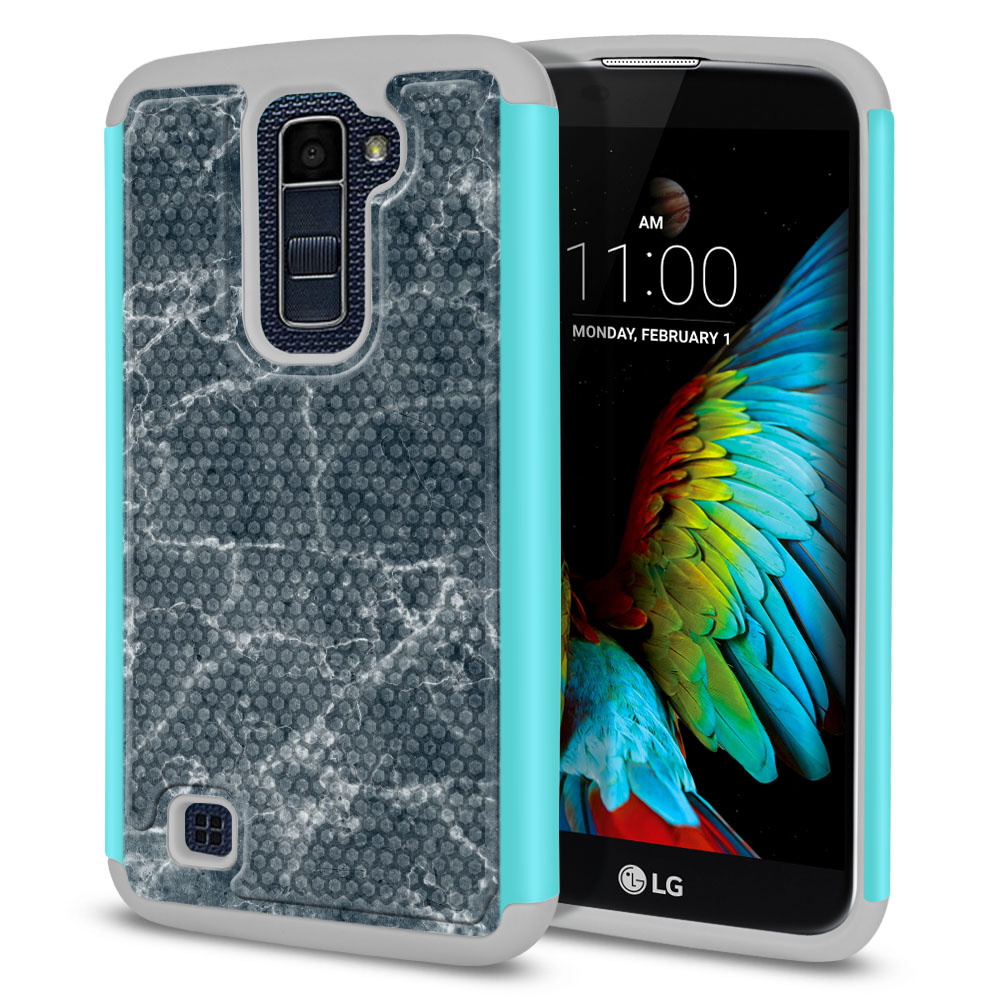 LG K10-LG Premier LTE L62VL L61AL K428 K430 K420 K420N Hybrid Football Skin Blue Stone Marble Protector Cover Case