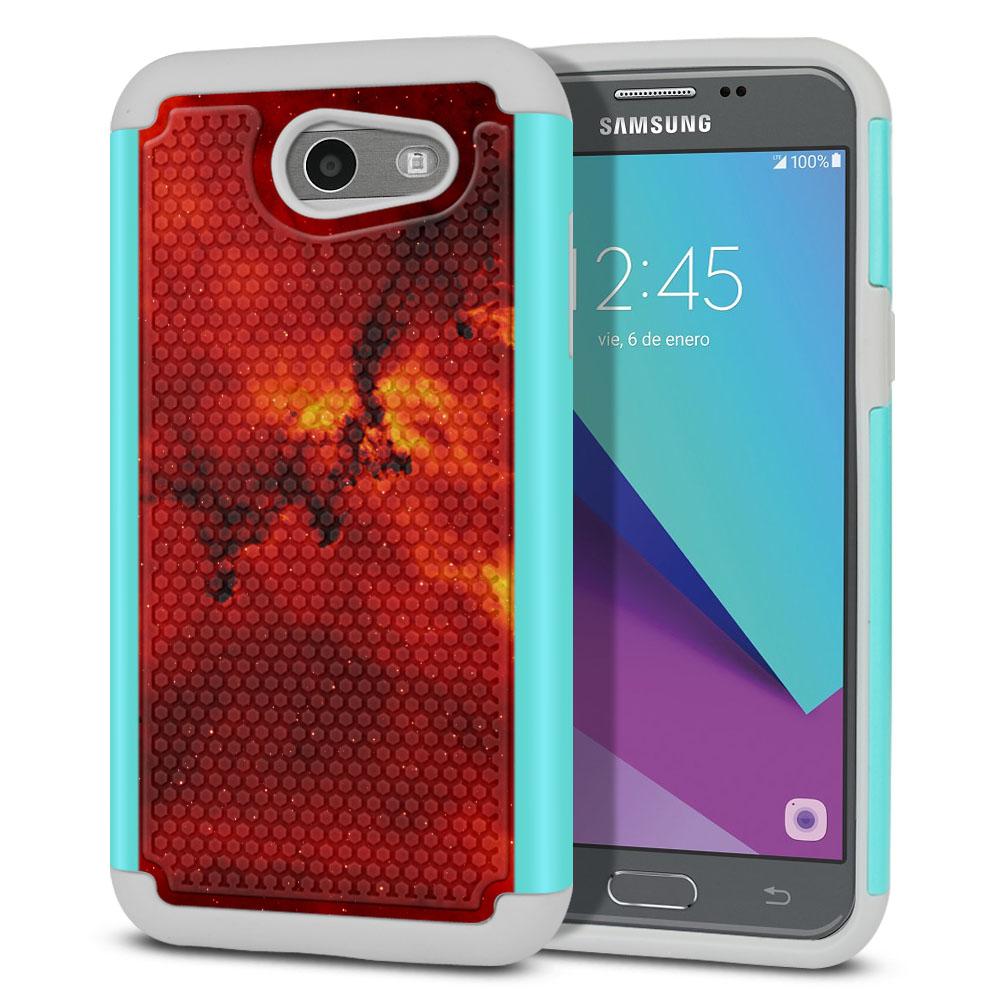 Samsung Galaxy J3 J327 2017 2nd Gen- Samsung Galaxy J3 Emerge Hybrid Football Skin Fiery Galaxy Protector Cover Case