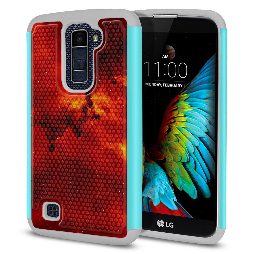 LG K10-LG Premier LTE L62VL L61AL K428 K430 K420 K420N Hybrid Football Skin Fiery Galaxy Protector Cover Case