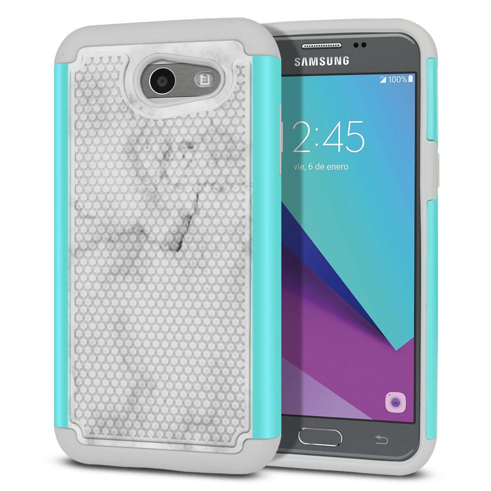 Samsung Galaxy J3 J327 2017 2nd Gen- Samsung Galaxy J3 Emerge Hybrid Football Skin Grey Cloudy Marble Protector Cover Case