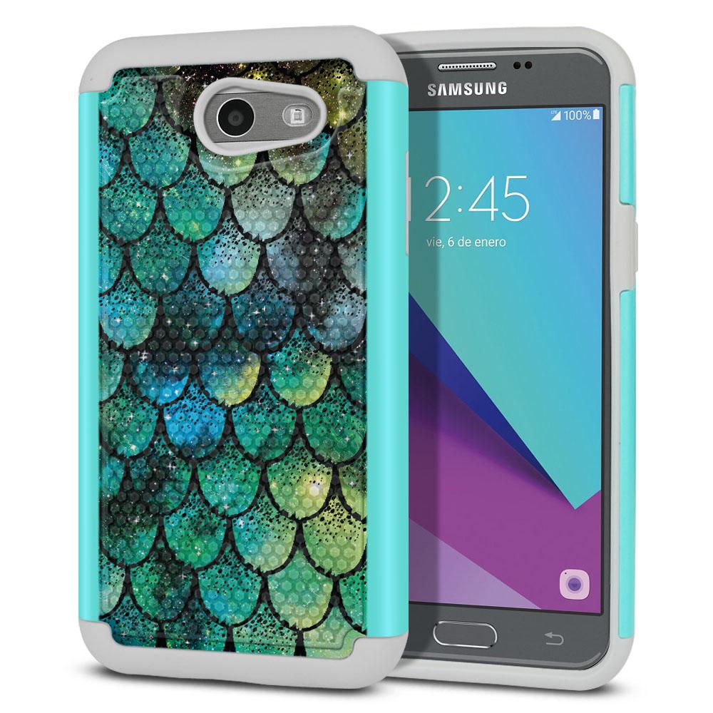 Samsung Galaxy J3 J327 2017 2nd Gen- Samsung Galaxy J3 Emerge Hybrid Football Skin Green Mermaid Scales Protector Cover Case