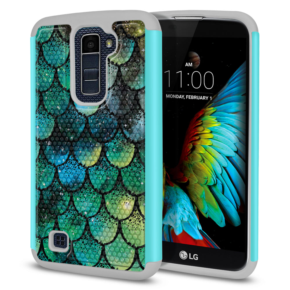 LG K10-LG Premier LTE L62VL L61AL K428 K430 K420 K420N Hybrid Football Skin Green Mermaid Scales Protector Cover Case