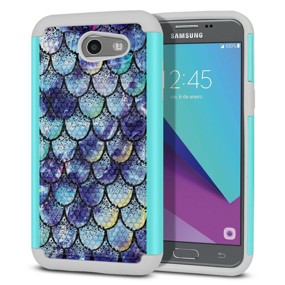 Samsung Galaxy J3 J327 2017 2nd Gen- Samsung Galaxy J3 Emerge Hybrid Football Skin Purple Mermaid Scales Protector Cover Case