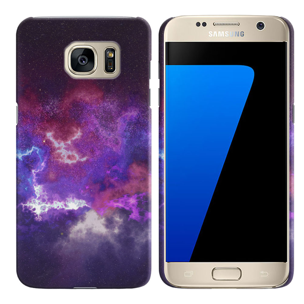 Samsung Galaxy S7 G930 Purple Nebula Space Back Cover Case