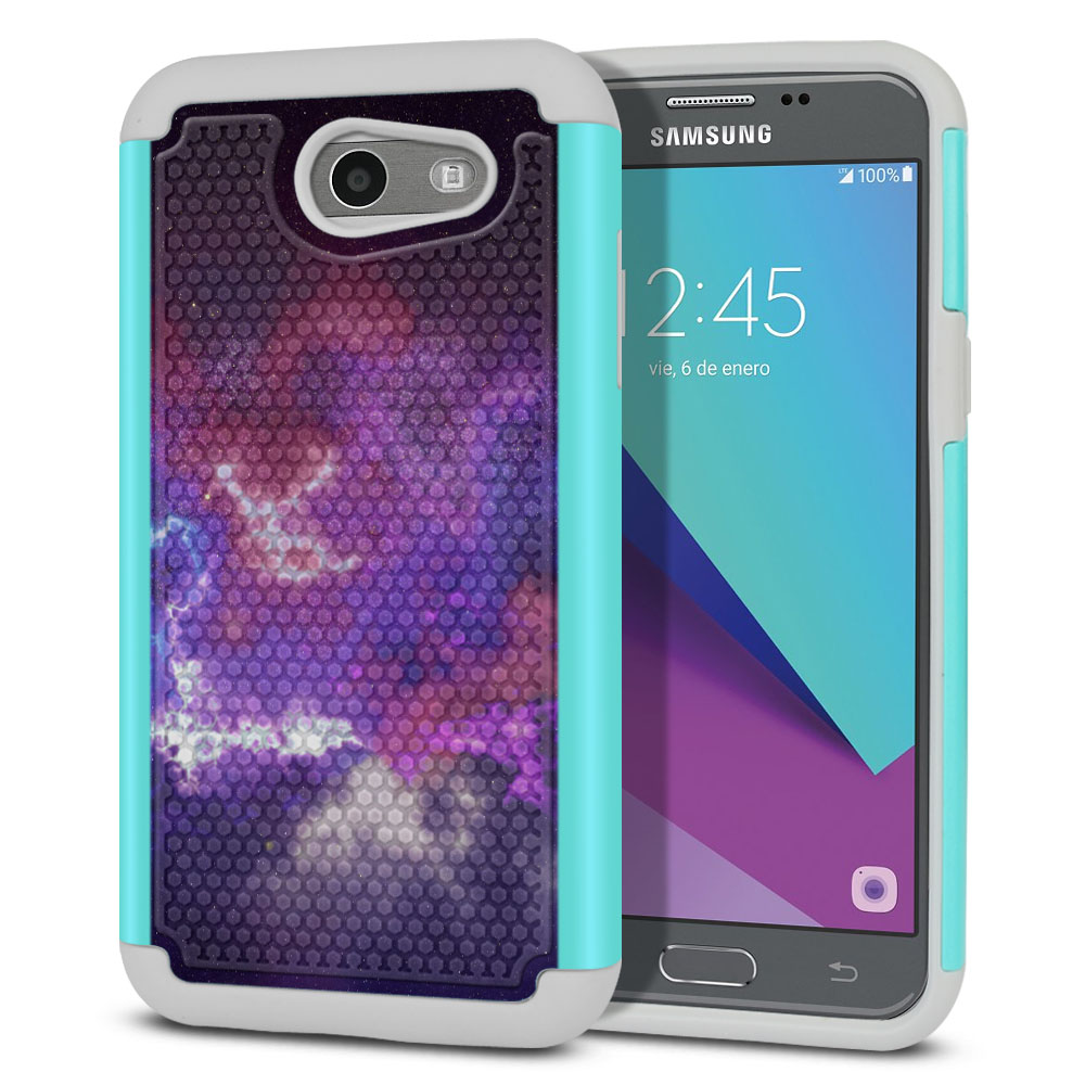 Samsung Galaxy J3 J327 2017 2nd Gen- Samsung Galaxy J3 Emerge Hybrid Football Skin Purple Nebula Space Protector Cover Case