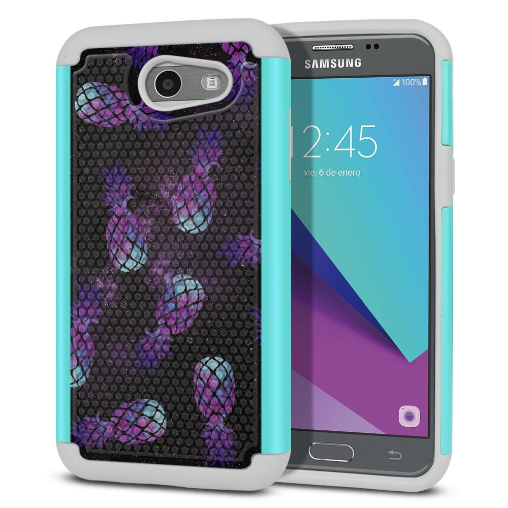 Samsung Galaxy J3 J327 2017 2nd Gen- Samsung Galaxy J3 Emerge Hybrid Football Skin Purple Pineapples Galaxy Protector Cover Case