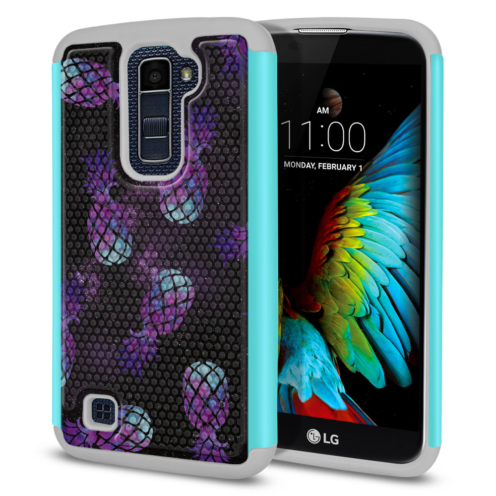 LG K10-LG Premier LTE L62VL L61AL K428 K430 K420 K420N Hybrid Football Skin Purple Pineapples Galaxy Protector Cover Case