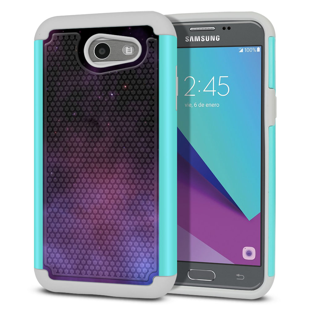 Samsung Galaxy J3 J327 2017 2nd Gen- Samsung Galaxy J3 Emerge Hybrid Football Skin Purple Space Stars Protector Cover Case