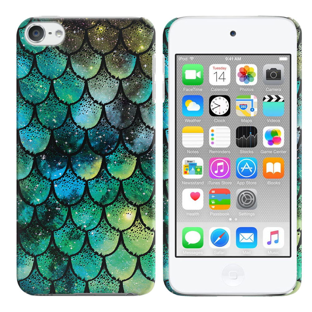 Apple iPod Touch 5 (5th Generation)-Apple iPod Touch 6 (6th Generation) Green Mermaid Scales Back Cover Case