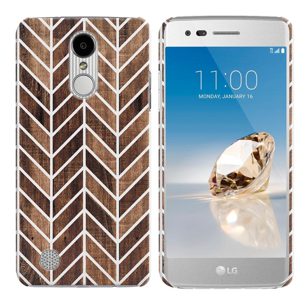 LG Aristo MS210 LV3-LG K8 (2017)-LG Phoenix 3 M150-LG Fortune Modern Chevron Wood Back Cover Case