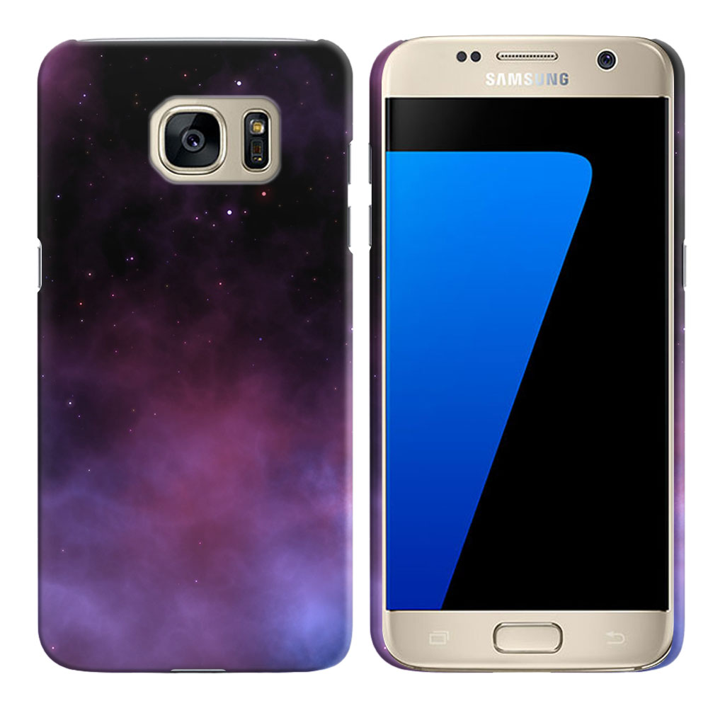 Samsung Galaxy S7 G930 Purple Space Stars Back Cover Case