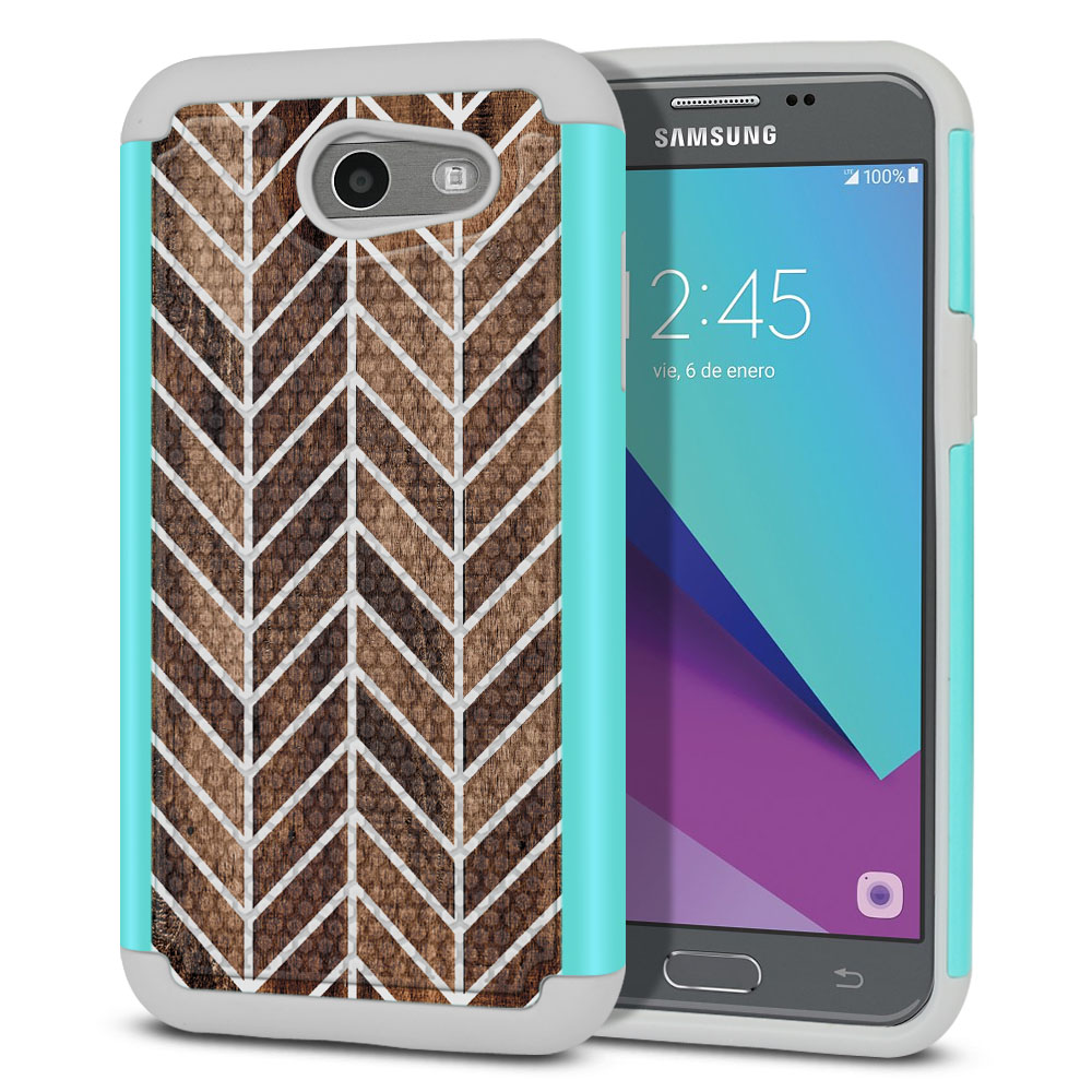 Samsung Galaxy J3 J327 2017 2nd Gen- Samsung Galaxy J3 Emerge Hybrid Football Skin Wood Chevron Protector Cover Case