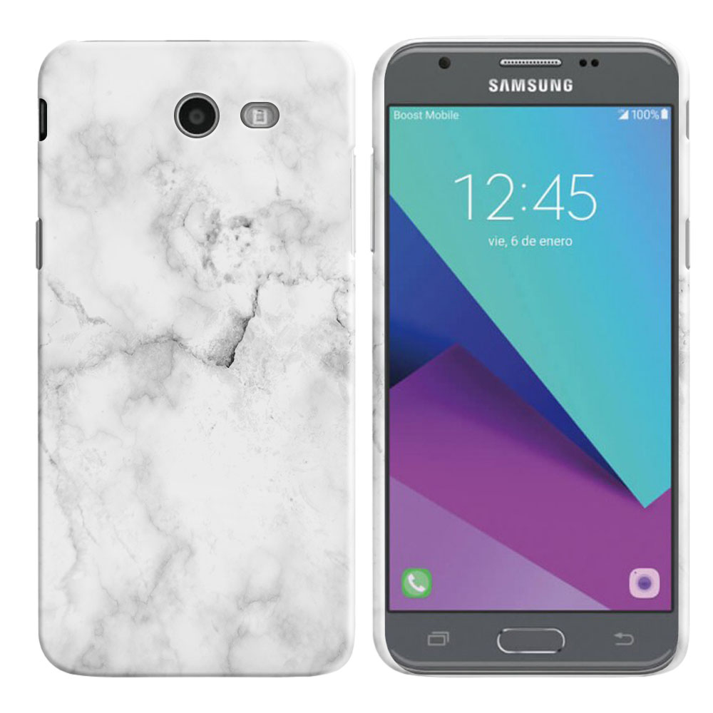 Samsung Galaxy J3 J327 2017 2nd Gen- Samsung Galaxy J3 Emerge Grey Cloudy Marble Back Cover Case