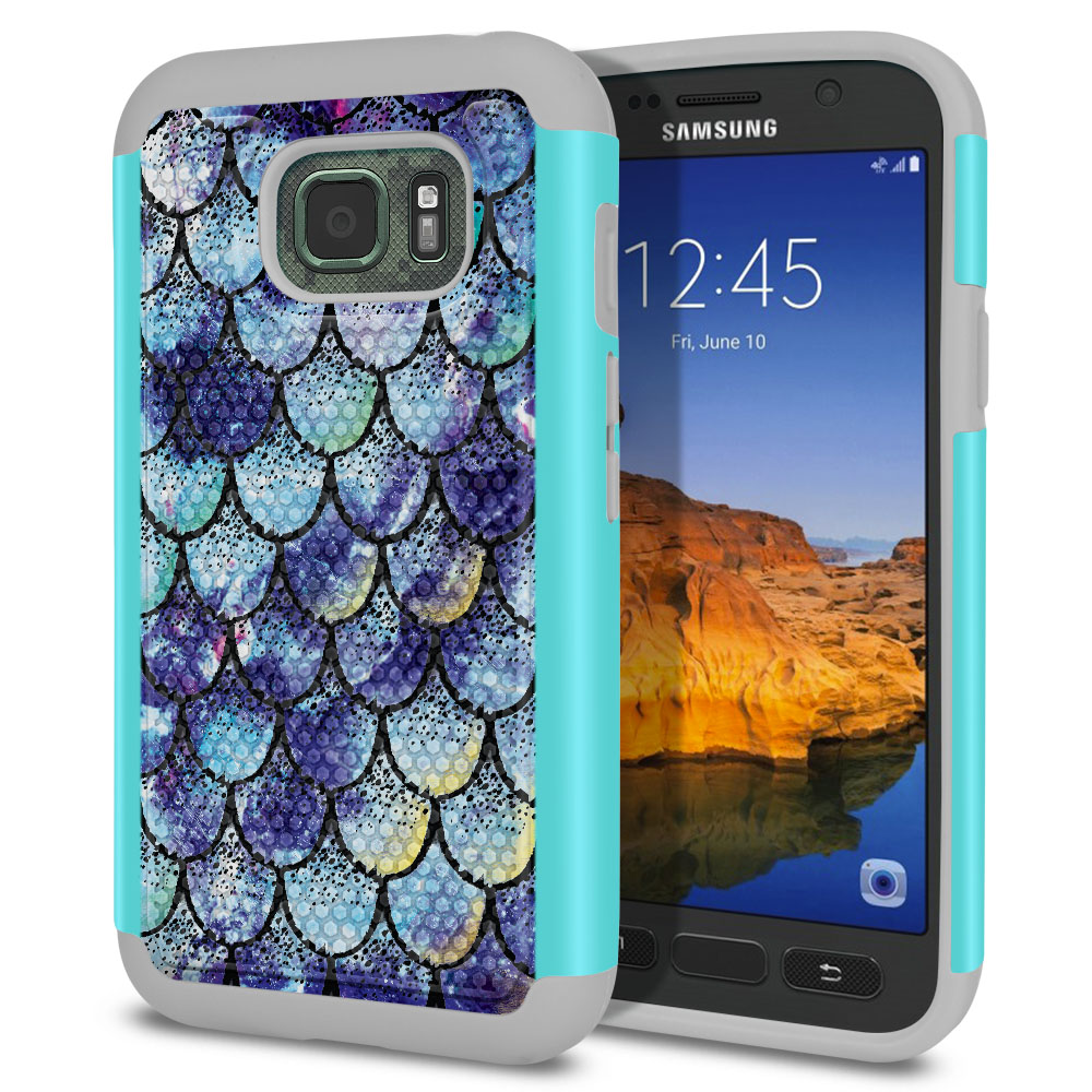 Samsung Galaxy S7 Active G891 Hybrid Football Skin Purple Mermaid Scales Protector Cover Case