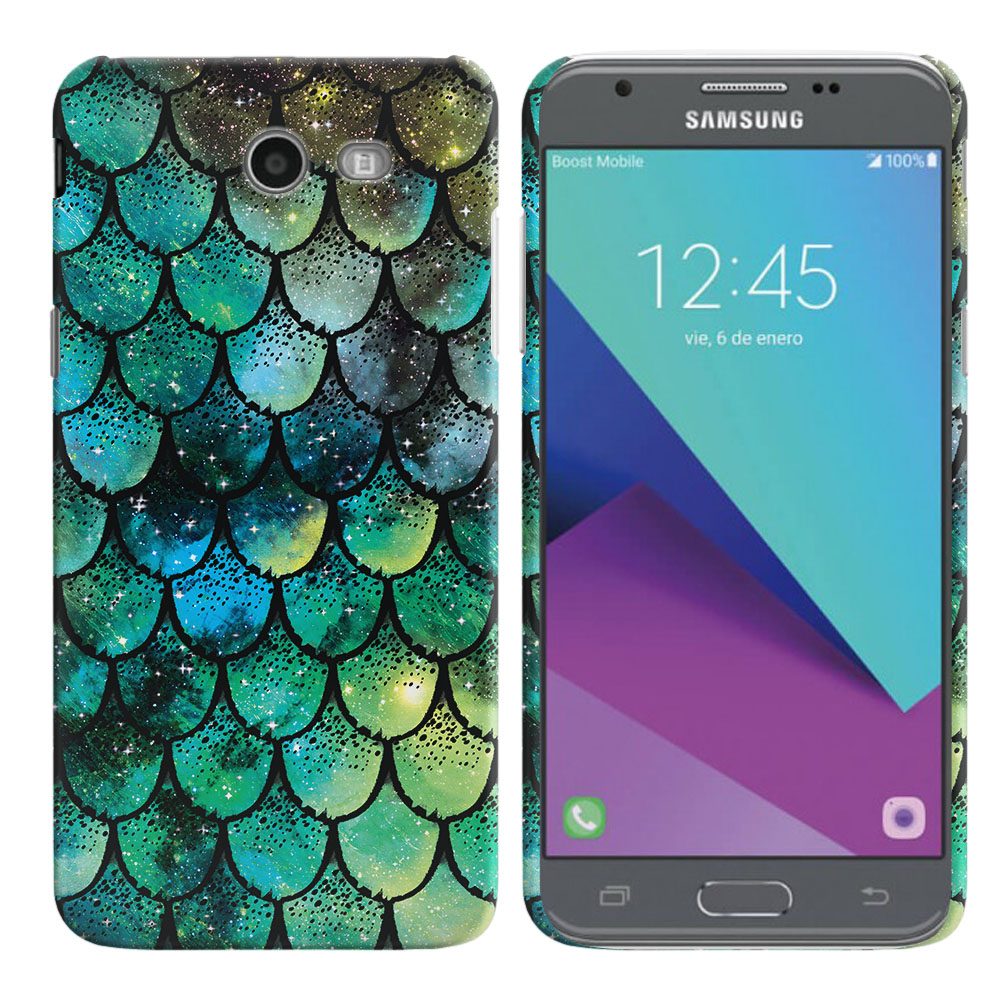 Samsung Galaxy J3 J327 2017 2nd Gen- Samsung Galaxy J3 Emerge Green Mermaid Scales Back Cover Case