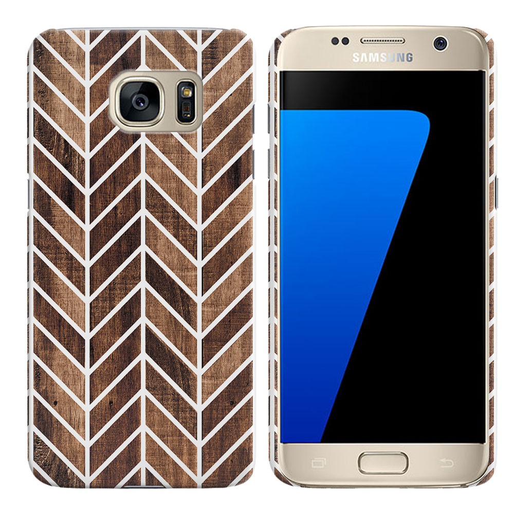 Samsung Galaxy S7 G930 Wood Chevron Back Cover Case