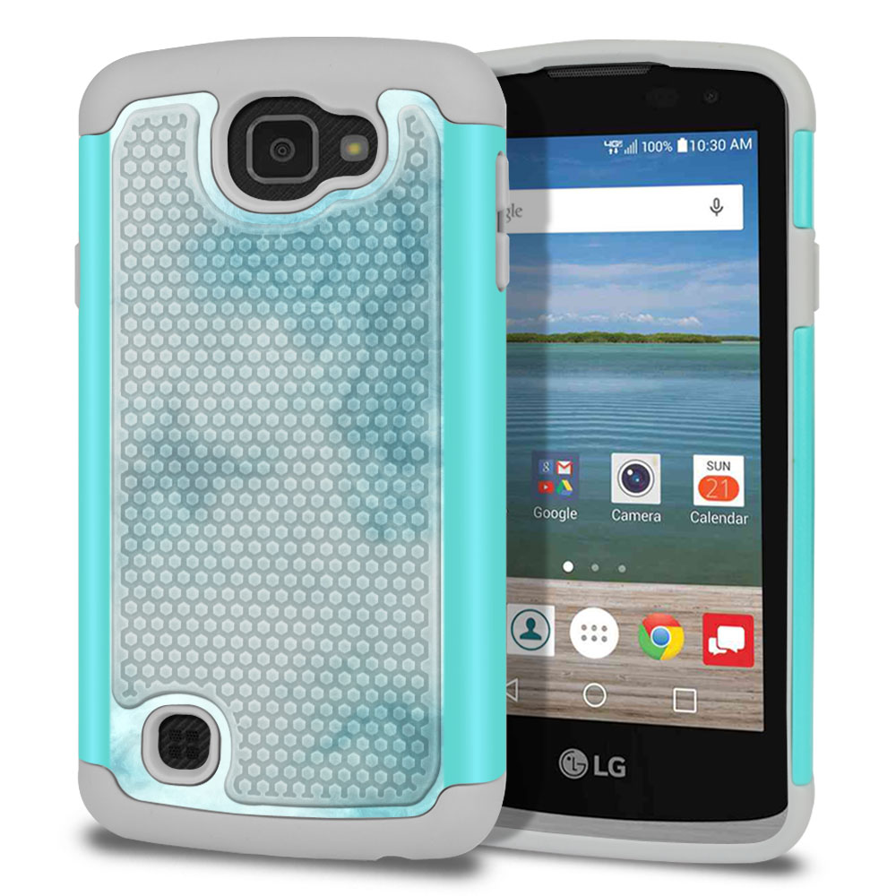 LG Optimus Zone 3 VS425PP-LG Spree K120-LG K4-LG Rebel 4G L44VL L43AL Texture Hybrid Blue Cloudy Marble Protector Cover Case