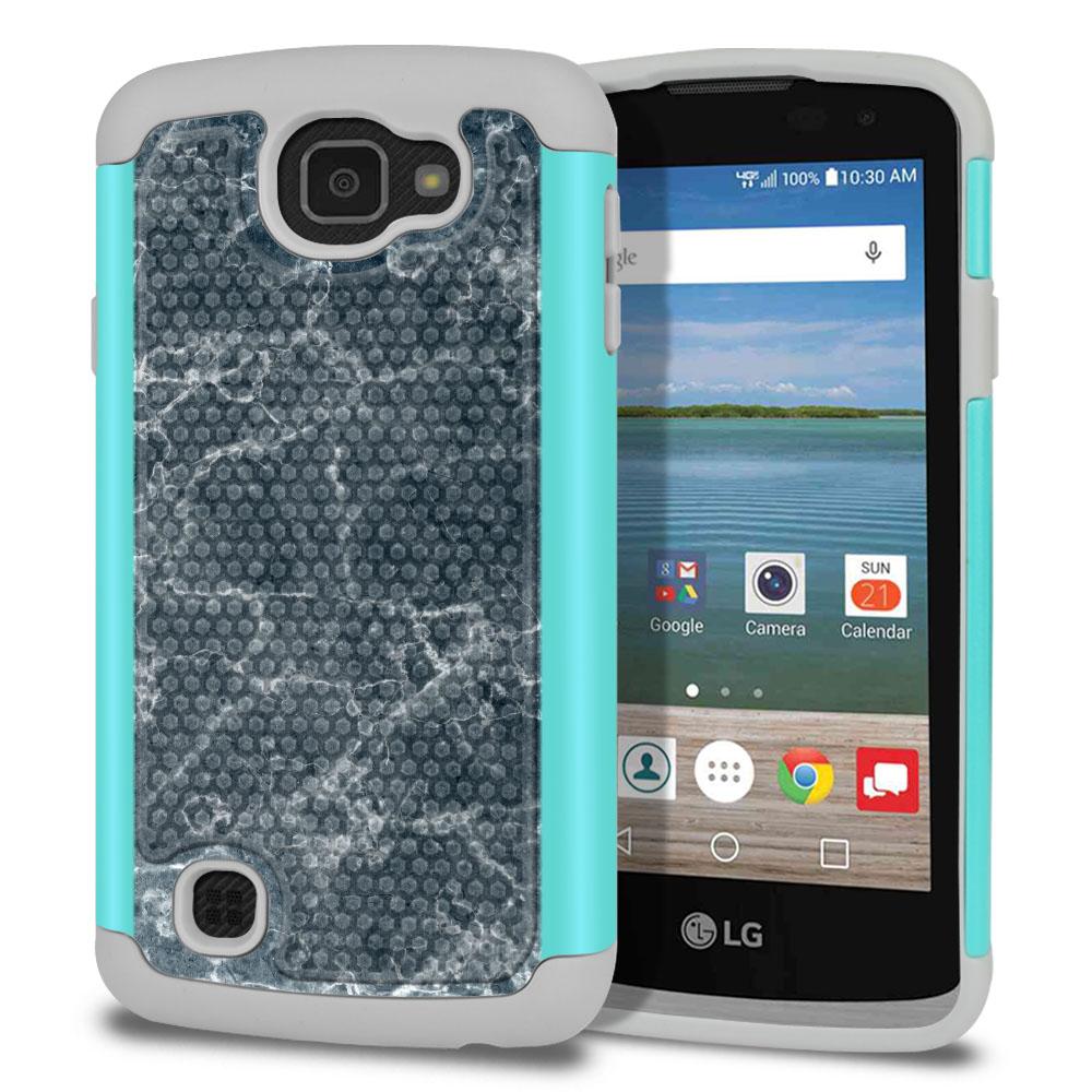 LG Optimus Zone 3 VS425PP-LG Spree K120-LG K4-LG Rebel 4G L44VL L43AL Texture Hybrid Blue Stone Marble Protector Cover Case