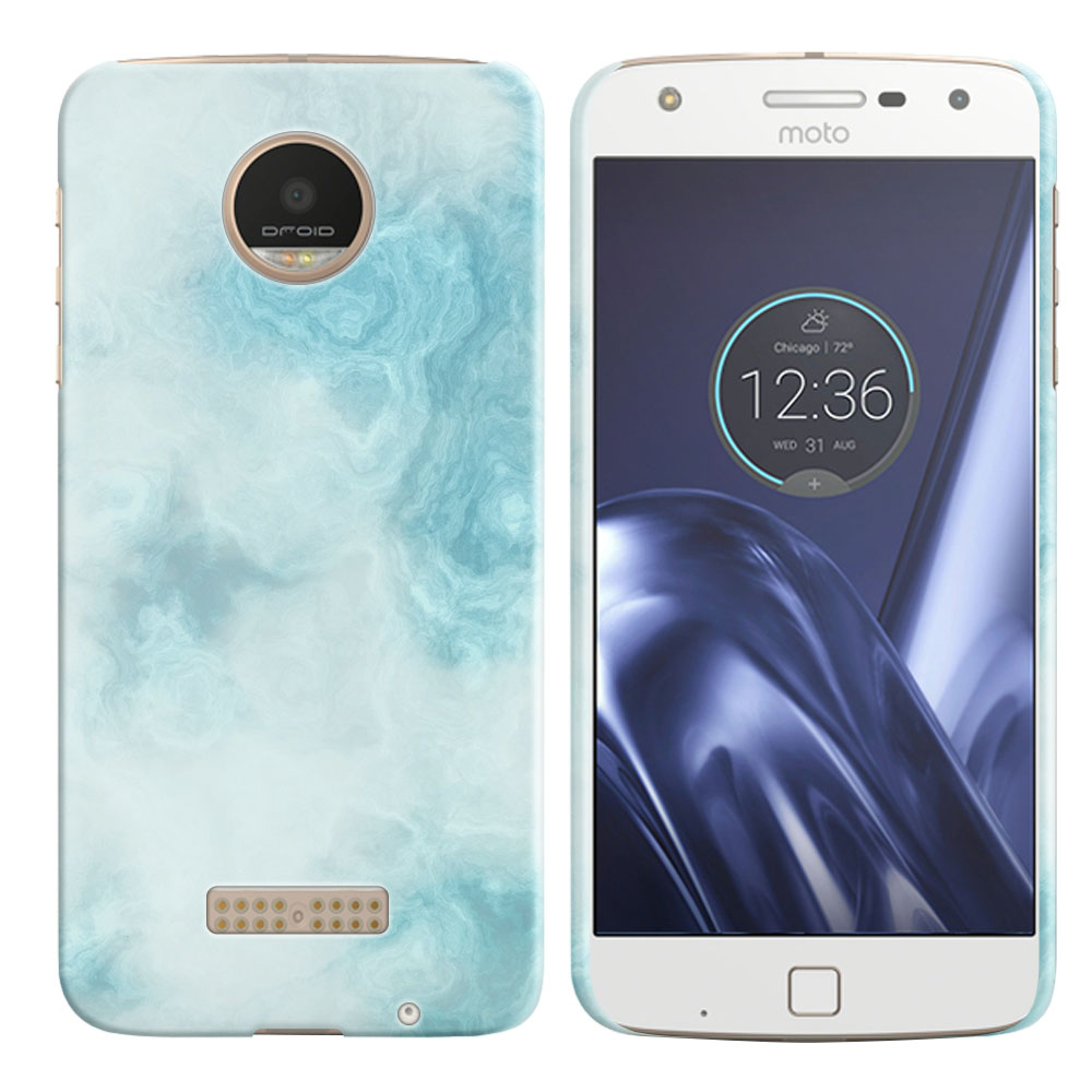 Motorola Moto Z Play Droid XT1635 Blue Cloudy Marble Back Cover Case