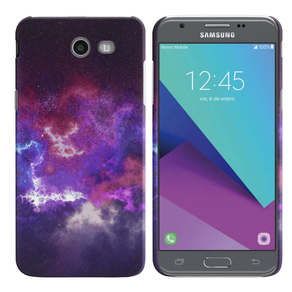 Samsung Galaxy J3 J327 2017 2nd Gen- Samsung Galaxy J3 Emerge Purple Nebula Space Back Cover Case