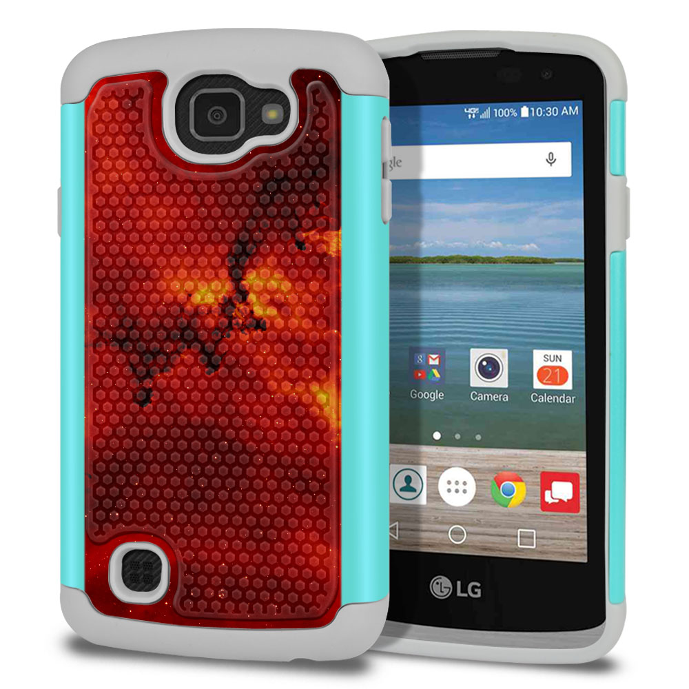 LG Optimus Zone 3 VS425PP-LG Spree K120-LG K4-LG Rebel 4G L44VL L43AL Texture Hybrid Fiery Galaxy Protector Cover Case