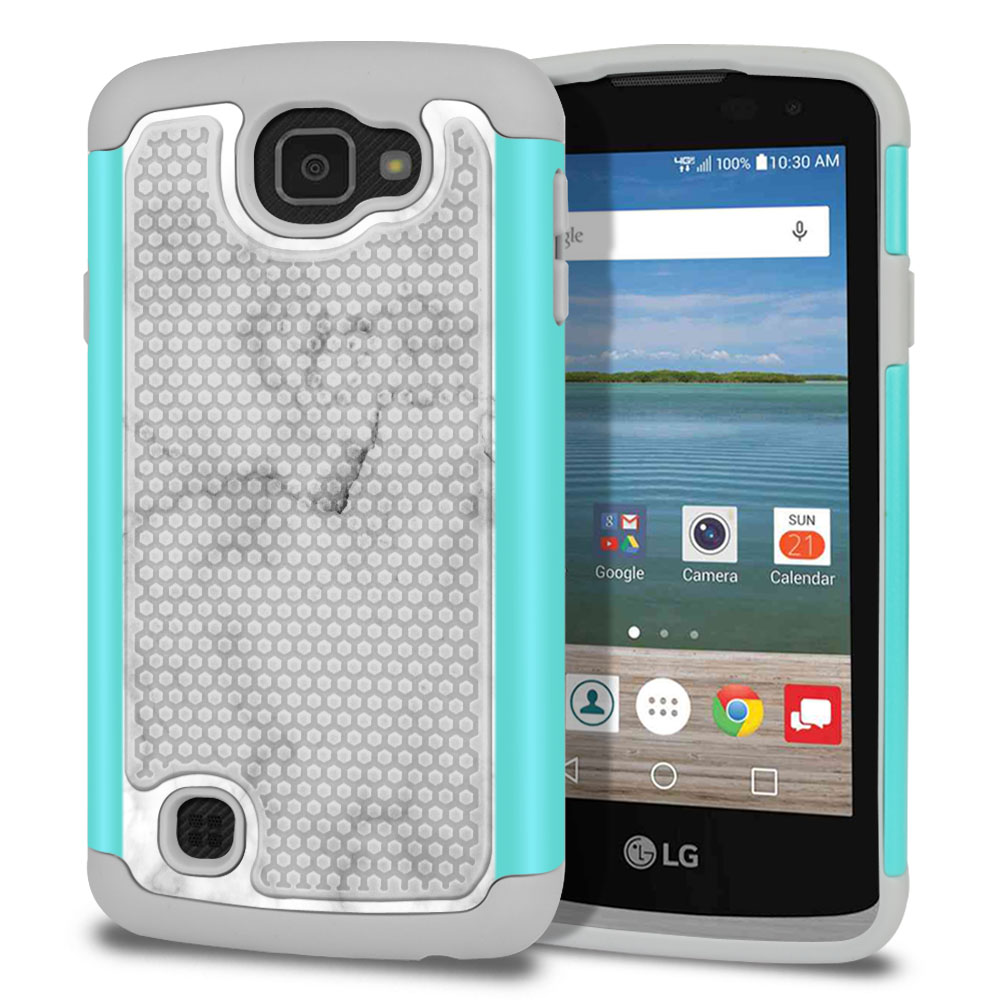 LG Optimus Zone 3 VS425PP-LG Spree K120-LG K4-LG Rebel 4G L44VL L43AL Texture Hybrid Grey Cloudy Marble Protector Cover Case