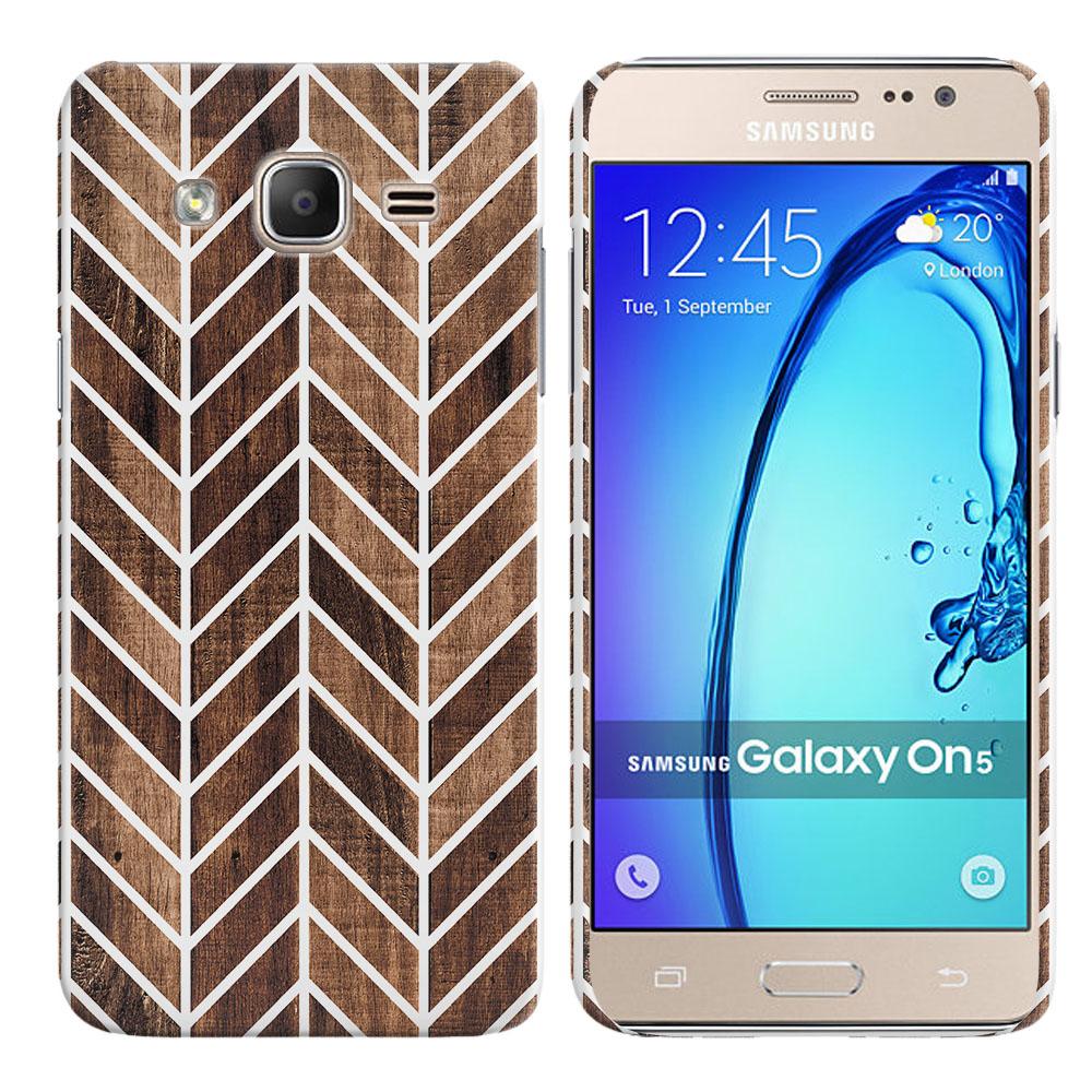 Samsung Galaxy On5 G500-Samsung Galaxy On5 G550 Modern Chevron Wood Back Cover Case