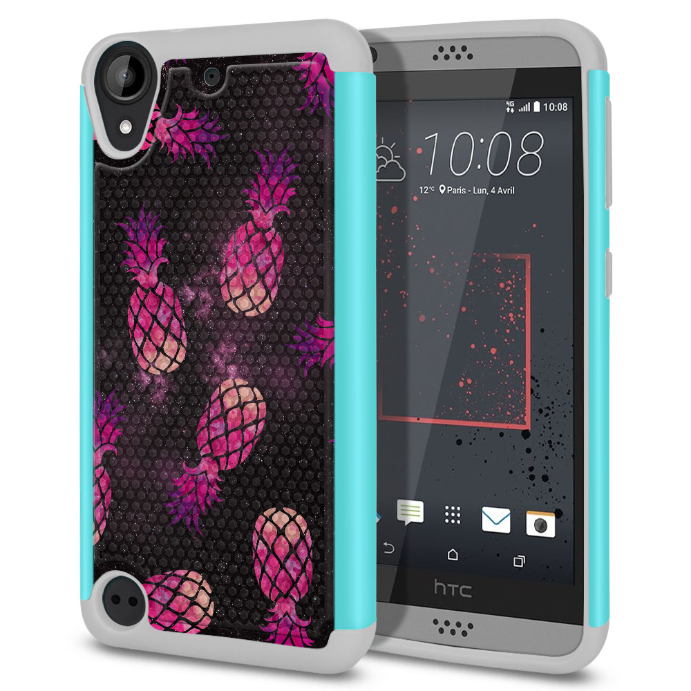 HTC Desire 530 630 Hybrid Football Skin Hot Pink Pineapple Pattern In Galaxy Protector Cover Case