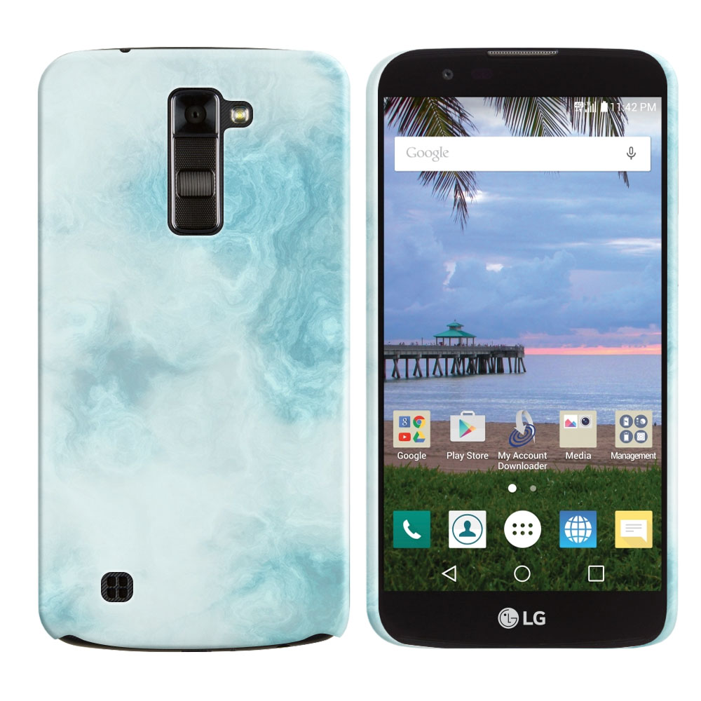 LG K10-LG Premier LTE L62VL L61AL K428 K430 K420 K420N Blue Cloudy Marble Back Cover Case
