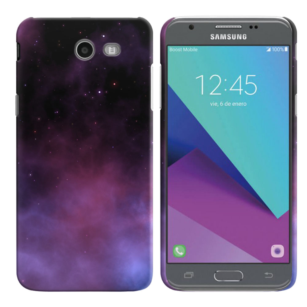 Samsung Galaxy J3 J327 2017 2nd Gen- Samsung Galaxy J3 Emerge Purple Space Stars Back Cover Case