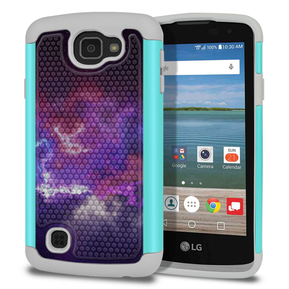 LG Optimus Zone 3 VS425PP-LG Spree K120-LG K4-LG Rebel 4G L44VL L43AL Texture Hybrid Purple Nebula Space Protector Cover Case