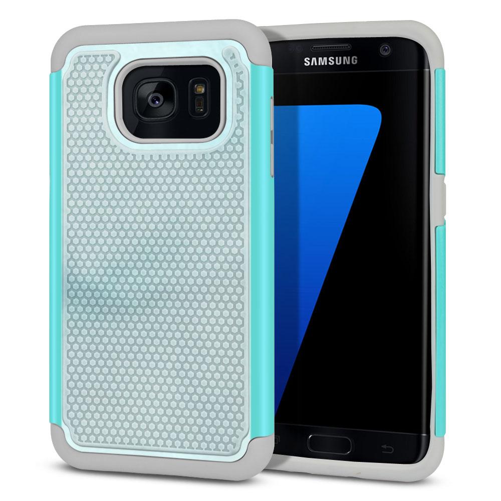 Samsung Galaxy S7 Edge G935 Hybrid Football Skin Blue Cloudy Marble Protector Cover Case