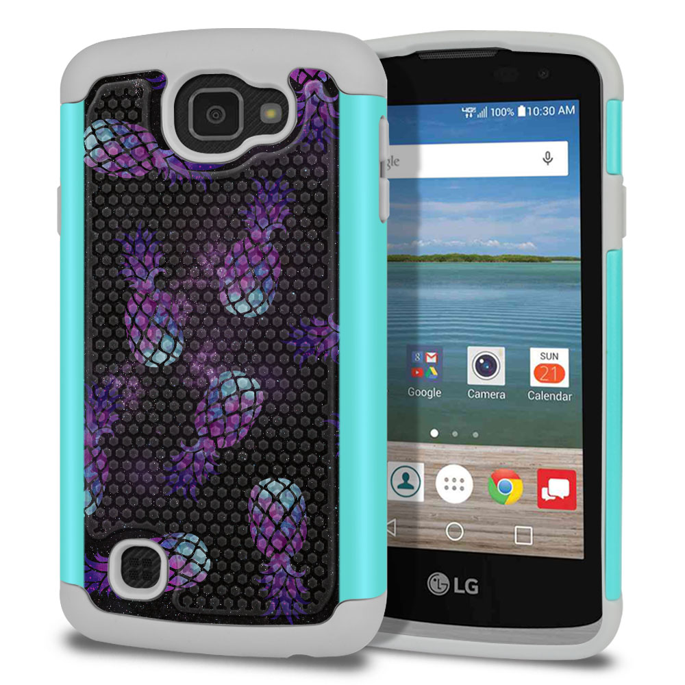 LG Optimus Zone 3 VS425PP-LG Spree K120-LG K4-LG Rebel 4G L44VL L43AL Texture Hybrid Purple Pineapples Galaxy Protector Cover Case