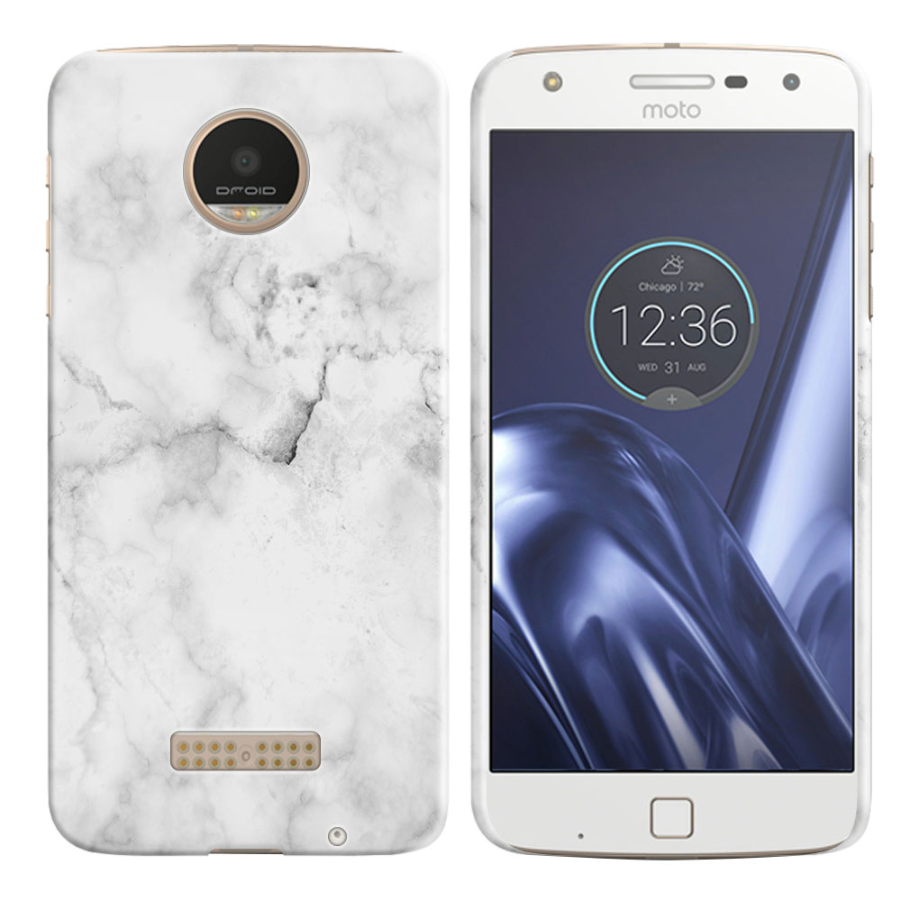 Motorola Moto Z Play Droid XT1635 Grey Cloudy Marble Back Cover Case
