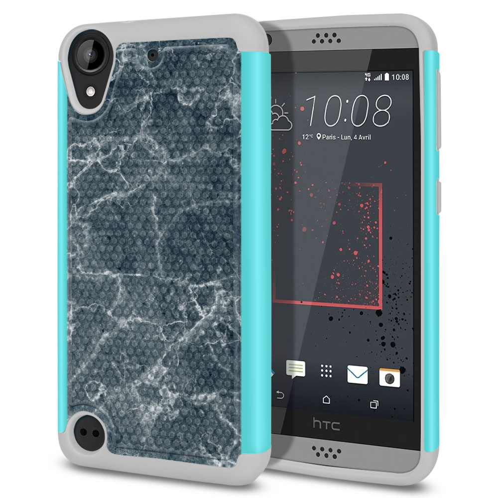 HTC Desire 530 630 Hybrid Football Skin Blue Stone Marble Protector Cover Case