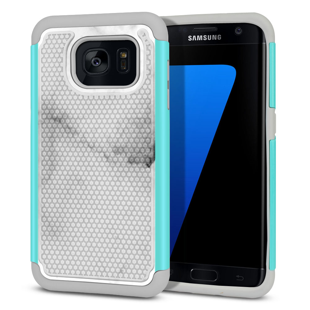 Samsung Galaxy S7 Edge G935 Hybrid Football Skin Grey Cloudy Marble Protector Cover Case