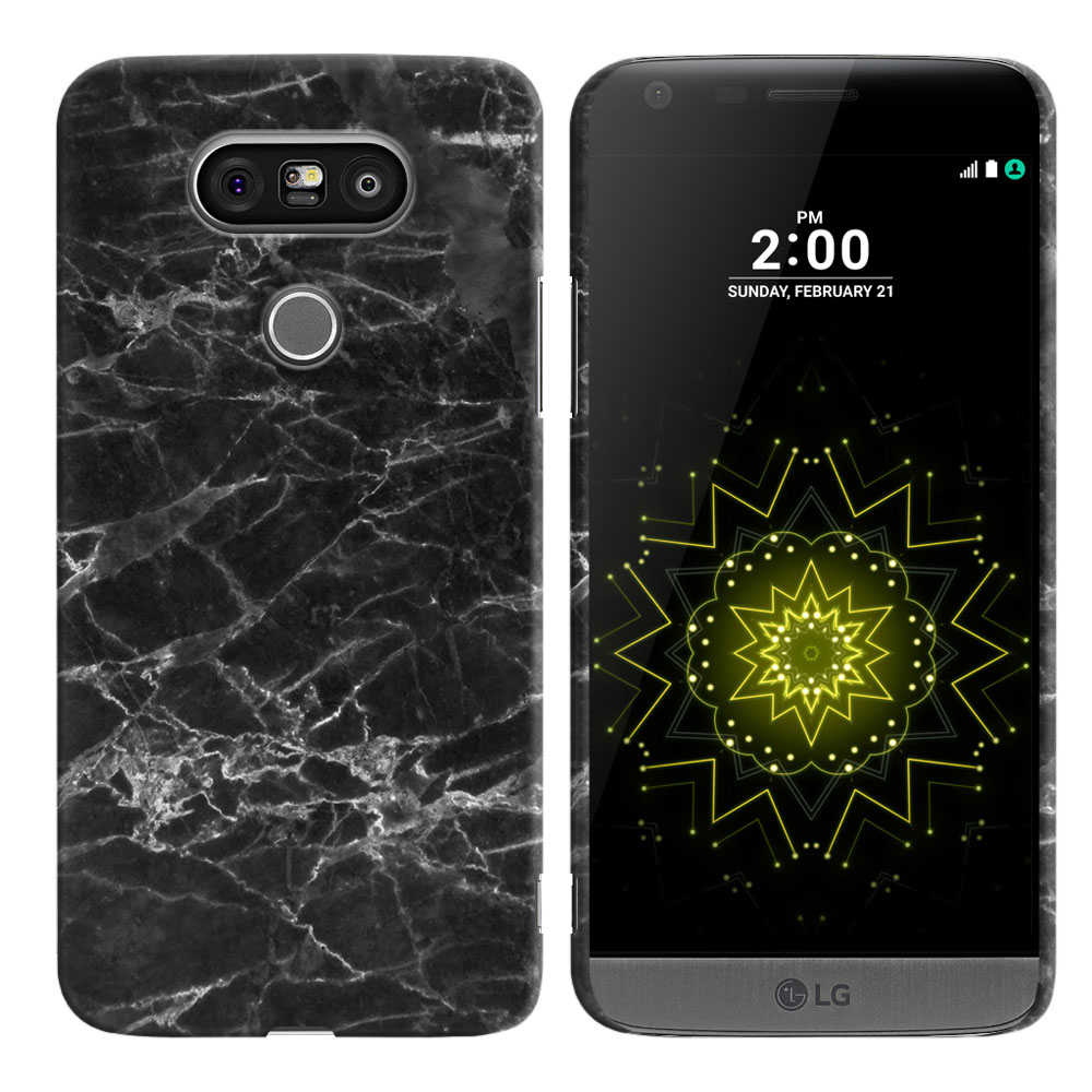 LG G5 H850 VS987 Black Stone Marble Back Cover Case