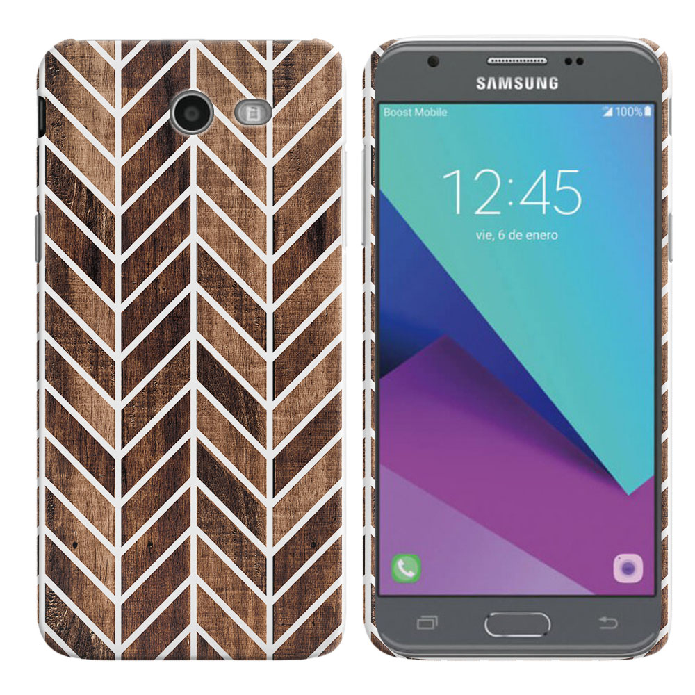 Samsung Galaxy J3 J327 2017 2nd Gen- Samsung Galaxy J3 Emerge Wood Chevron Back Cover Case