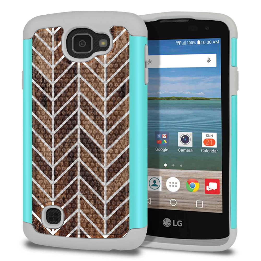 LG Optimus Zone 3 VS425PP-LG Spree K120-LG K4-LG Rebel 4G L44VL L43AL Texture Hybrid Modern Chevron Wood Protector Cover Case