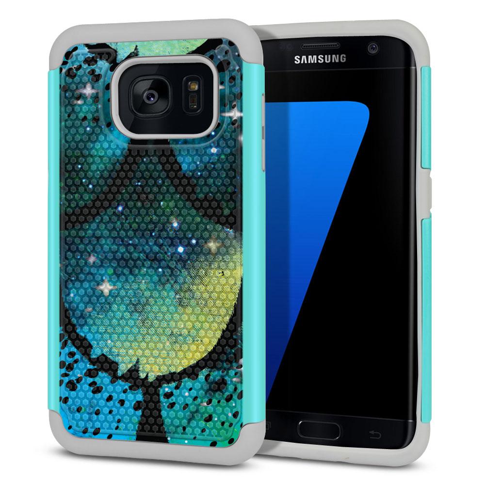 Samsung Galaxy S7 Edge G935 Hybrid Football Skin Green Mermaid Scales Protector Cover Case