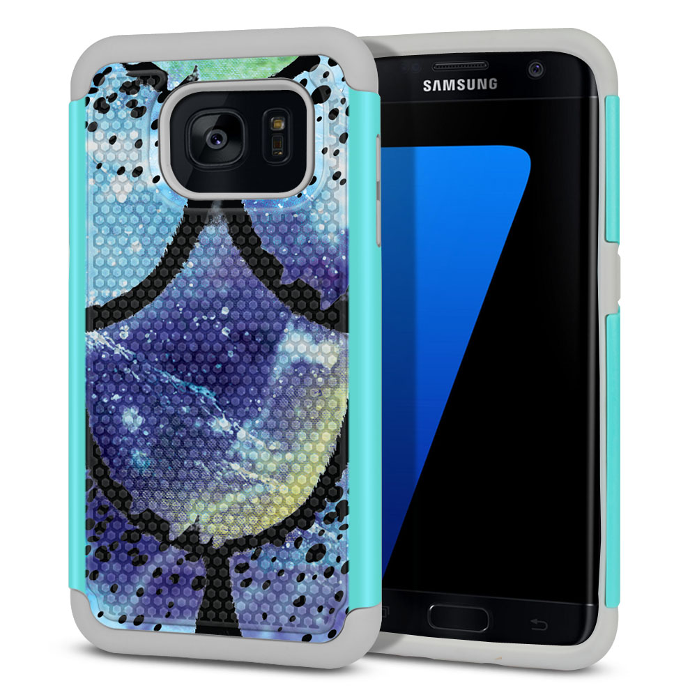 Samsung Galaxy S7 Edge G935 Hybrid Football Skin Purple Mermaid Scales Protector Cover Case