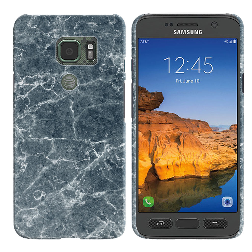 Samsung Galaxy S7 Active G891 Blue Stone Marble Back Cover Case