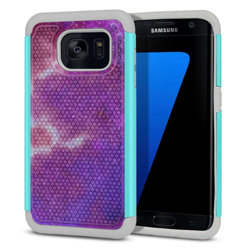Samsung Galaxy S7 Edge G935 Hybrid Football Skin Purple Nebula Space Protector Cover Case