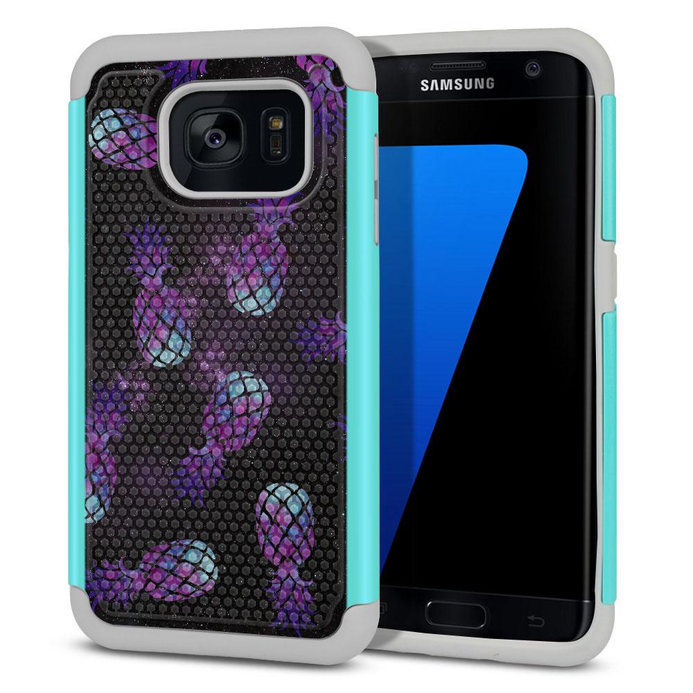 Samsung Galaxy S7 Edge G935 Hybrid Football Skin Purple Pineapples Galaxy Protector Cover Case