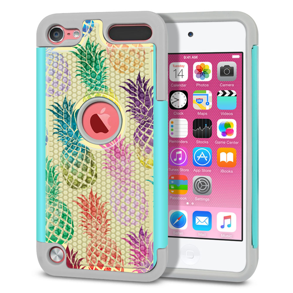 Apple iPod Touch 5 (5th Generation)-Apple iPod Touch 6 (6th Generation) Hybrid Football Skin Pastel Colorful Pineapple Yellow Pastel Protector Cover Case