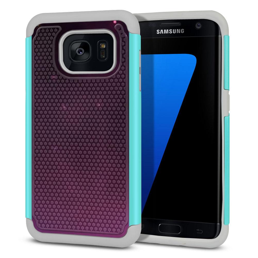 Samsung Galaxy S7 Edge G935 Hybrid Football Skin Purple Space Stars Protector Cover Case