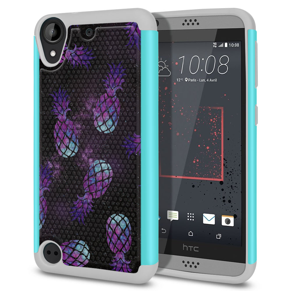 HTC Desire 530 630 Hybrid Football Skin Purple Pineapples Galaxy Protector Cover Case