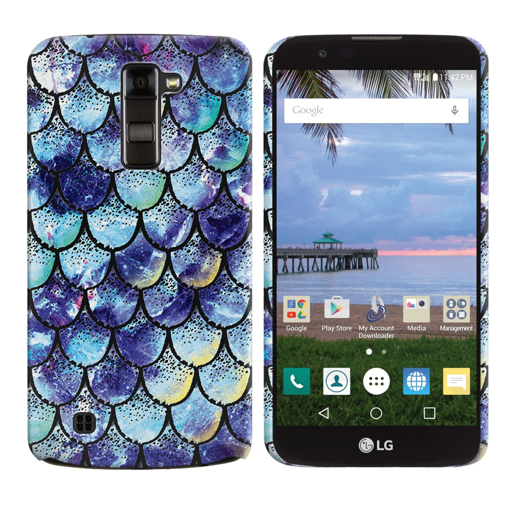 LG K10-LG Premier LTE L62VL L61AL K428 K430 K420 K420N Purple Mermaid Scales Back Cover Case