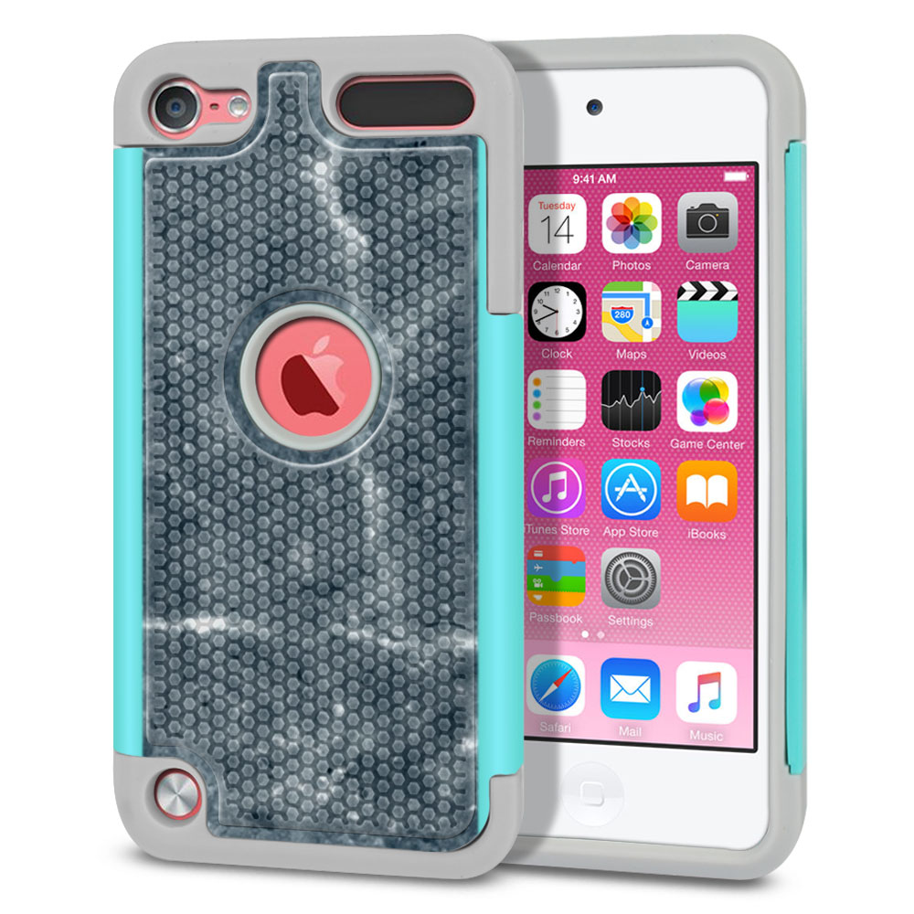 Apple iPod Touch 5 (5th Generation)-Apple iPod Touch 6 (6th Generation) Hybrid Football Skin Blue Stone Marble Protector Cover Case