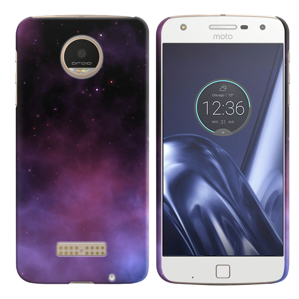 Motorola Moto Z Play Droid XT1635 Purple Space Stars Back Cover Case